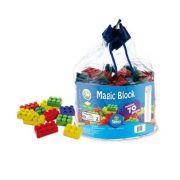 Sacola com 70 blocos coloridos Magic Block -  Simo Toys