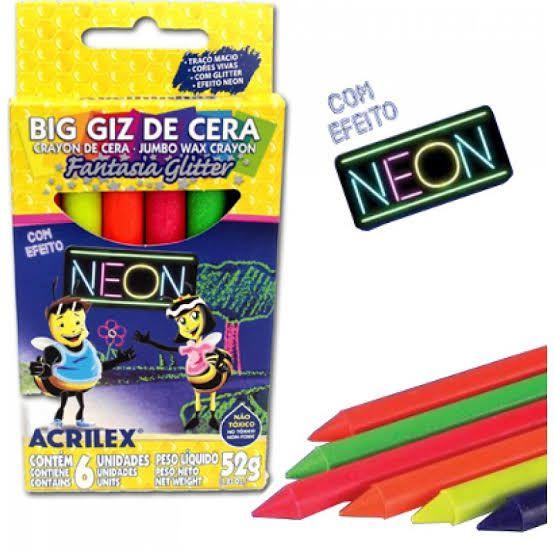 BIG GIZ DE CERA NEON ACRILEX C/06 UNIDADES