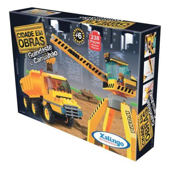 Blocos de Encaixe Cidade em Obras Guindaste e Caminhão - Xalingo Brinquedos