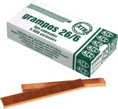 Grampos Cobreados 26/6 5000 unidades - ACC