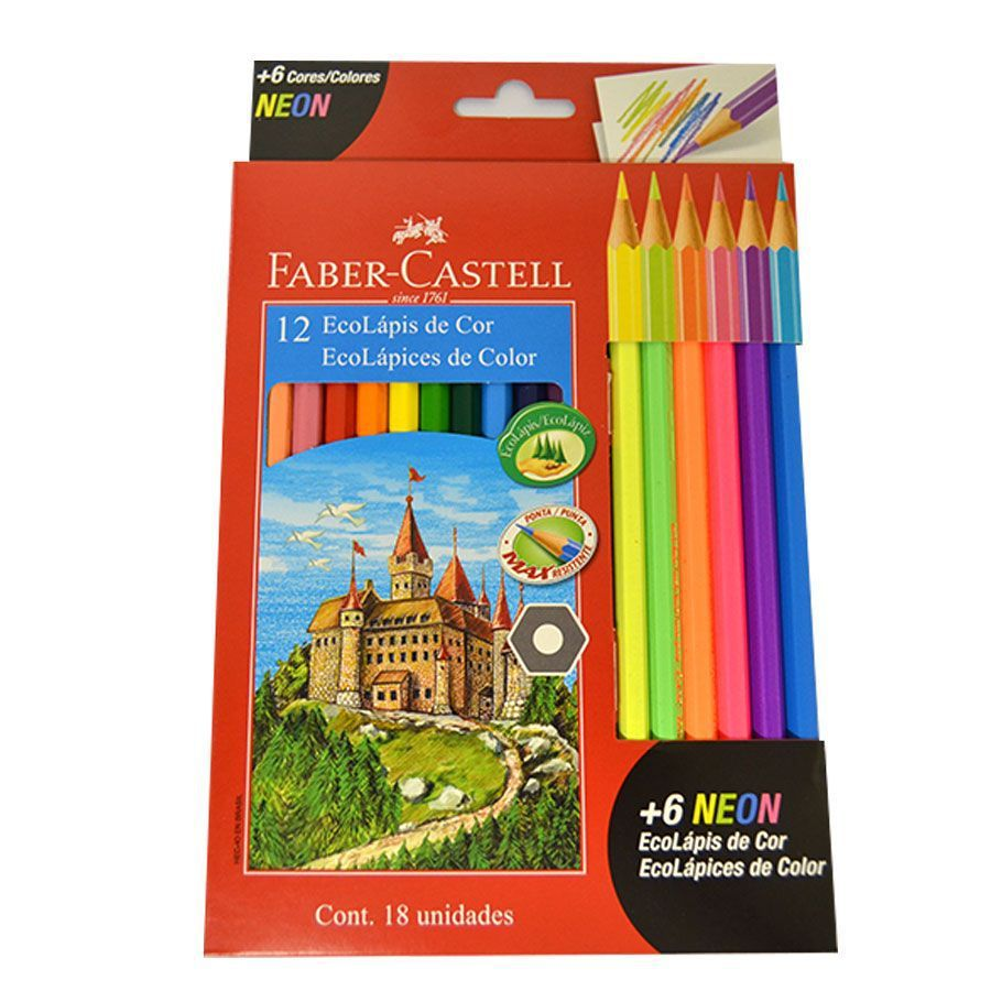 Lápis de Cor 12 cores Sextavado + 6 Neon - Faber-Castell