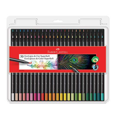 Lápis de Cor 50 cores redondo SuperSoft Ecolápis Faber Castell BT 1 UN