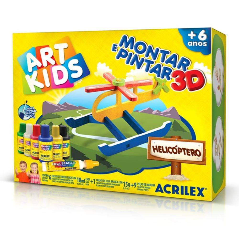 Montar e Pintar 3D Helicóptero Art Kids – Acrilex