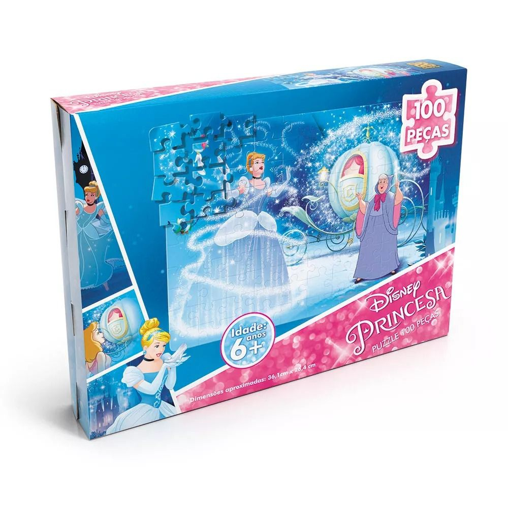 Quebra-Cabeça 100 Peças - Princesas Disney Cinderela