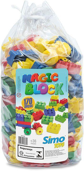 Sacola com 170 blocos coloridos Magic Block -  Simo Toys