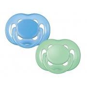 Chupetas Freeflow - Philips Avent -  6 a 18 meses (Verde e Azul)