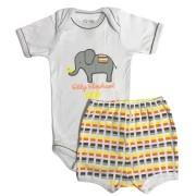 Conjunto Body Bebê e Shorts Elefantinho Neutro - Baby Duck