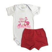 Conjunto Body Bebê e Shorts Flamingo - Baby Duck