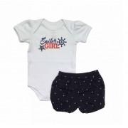 Conjunto Body Bebê e Shorts Nautico - Piu Blu - Tamanho M