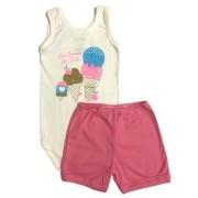 Conjunto Body Bebê Regatinha e Shorts Ice Crean - Baby Duck