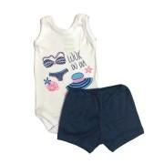 Conjunto Body Bebê Regatinha e Shorts Look do Dia - Baby Duck