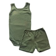 Conjunto Body Bebê Regatinha e Shorts Verde Militar - Baby Duck