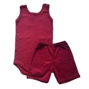 Conjunto Body Bebê Regatinha e Shorts Vinho - Baby Duck