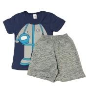 Conjunto Infantil Camiseta Malha e Bermudinha Astronauta - ClubB