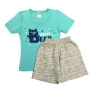 Conjunto Infantil Camiseta Malha e Bermudinha Happy - ClubB