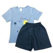 Conjunto Infantil Camiseta Malha e Bermudinha Helllo Boy - ClubB