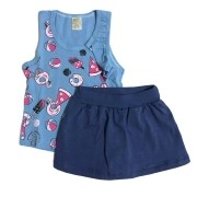 Conjunto infantil camiseta regatinha azul docinhos e shorts saia marinho