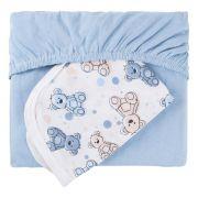 Jogo lençol malha 2 pçs ursinho azul - Sulbrasil
