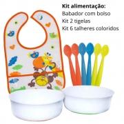 Kit Alimentação Bebê: 1 babador ,kit 2 tigelas, kit com 6 colheres coloridas