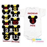Kit Body Mesversário Mickey - Minha Estrelinha
