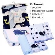 Kit Enxoval: 1 cobertor, 1 kit cueiros, 1 kit babetes, 1 trocador Baleias