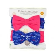 Kit Faixas com Laço Rosa Pink e Azul Navy - Zip Toys