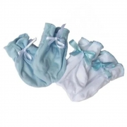 Kit Luvas Algodão Egípcio Azul lisa - 0 a 3 meses - Zip Toys