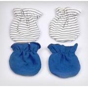 Kit Luvas para Bebê Algodão Egípcio Listras Cinza e Azul - 0 a 3 meses - Zip Toys