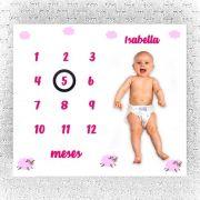 Lençol Mês Aniversário Ovelhinhas Rosa Personalizado - Minha Estrelinha