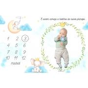 Lençol Mêsversário Cenário Para Fotos Bebê Elefante Menino