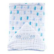 Toalha Soft Fralda Capuz  Coroas Azul Bordada - Papi