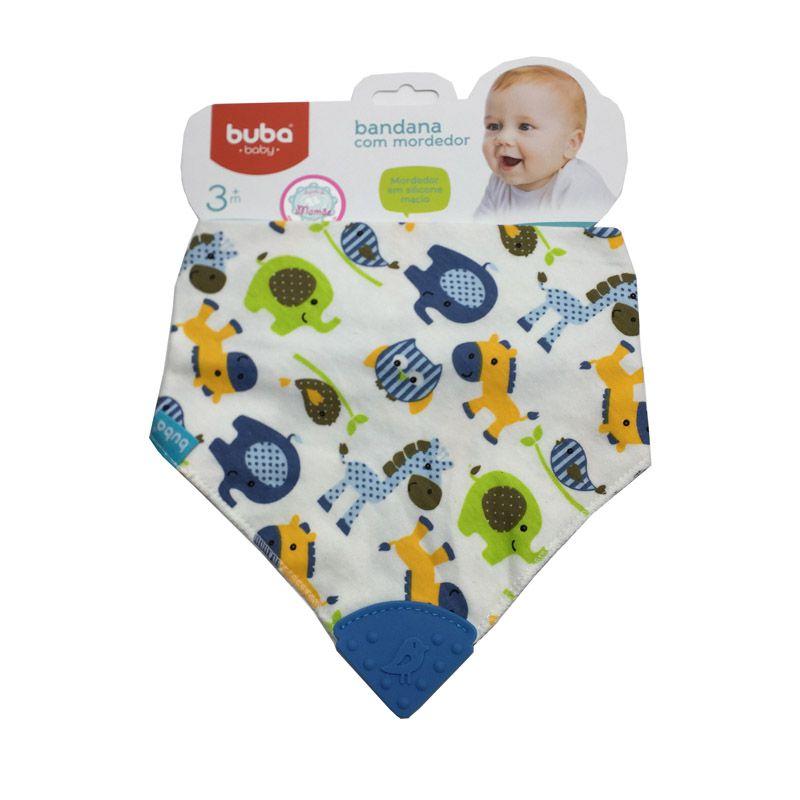 Babador com Mordedor de Silicone Azul - Buba Baby