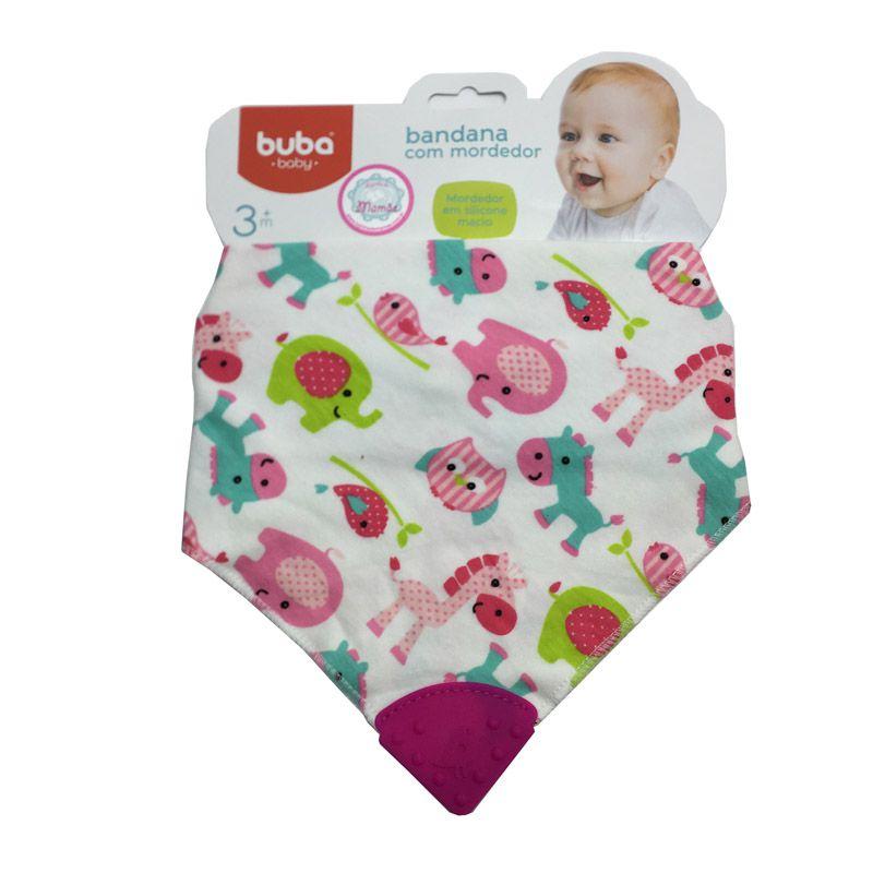 Babador com Mordedor de Silicone Rosa - Buba Baby