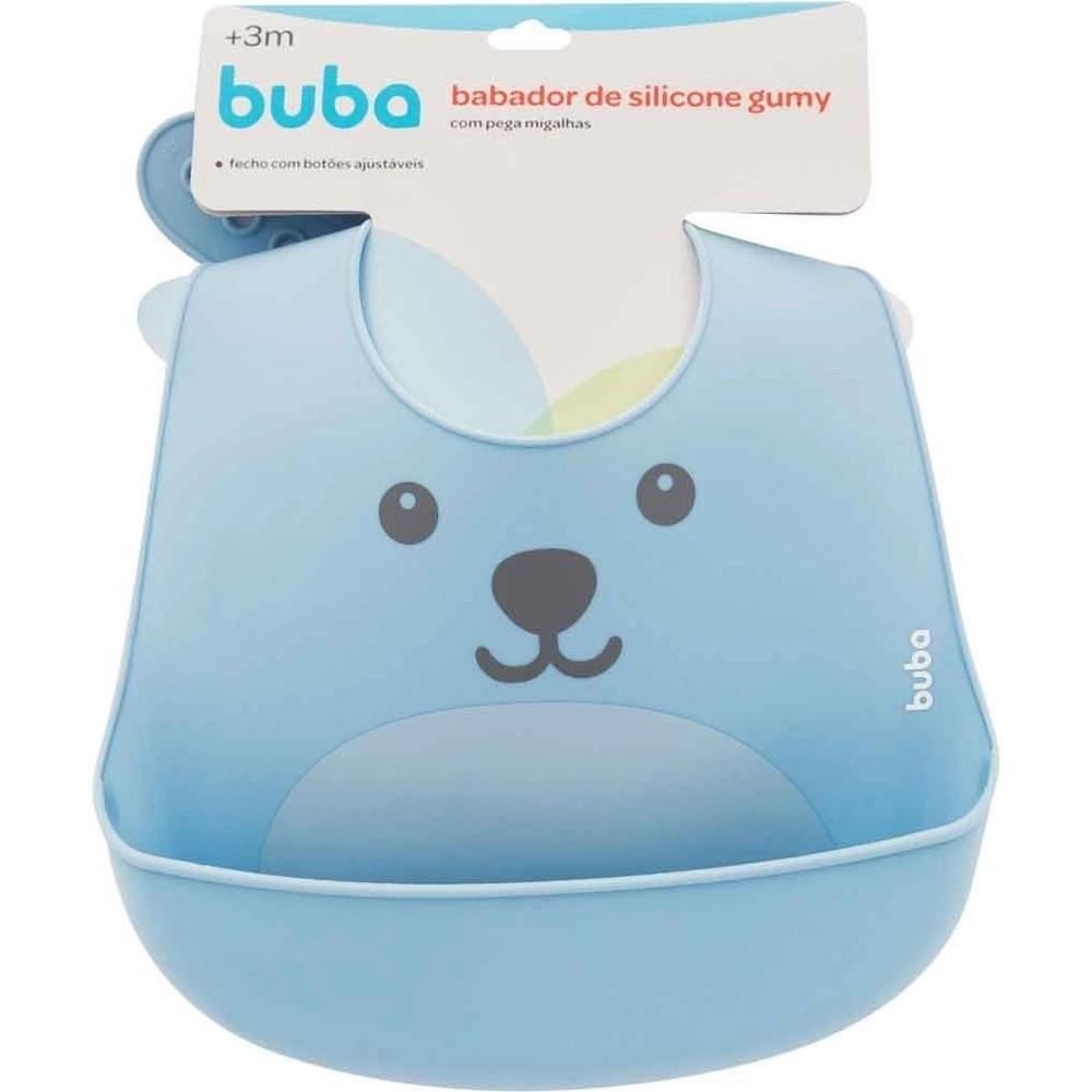 Babador em Silicone Pega Migalhas Gumy Azul - Buba Baby