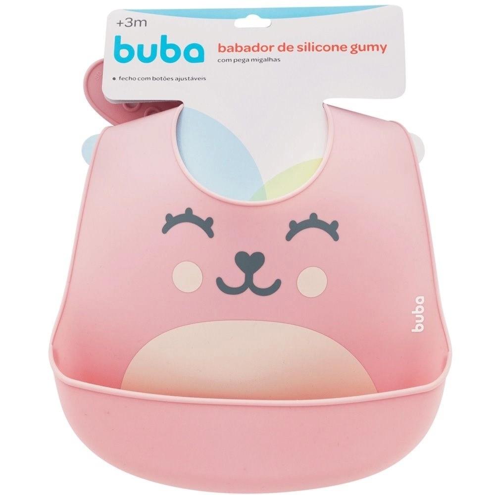 Babador em Silicone Pega Migalhas Gumy Rosa - Buba Baby