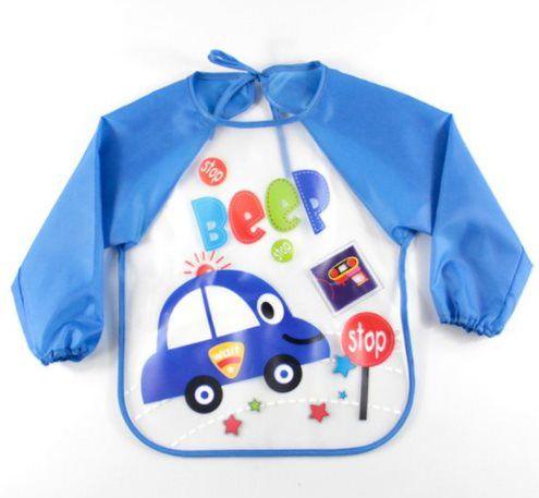 Babador manga longa BLW Baby - Azul