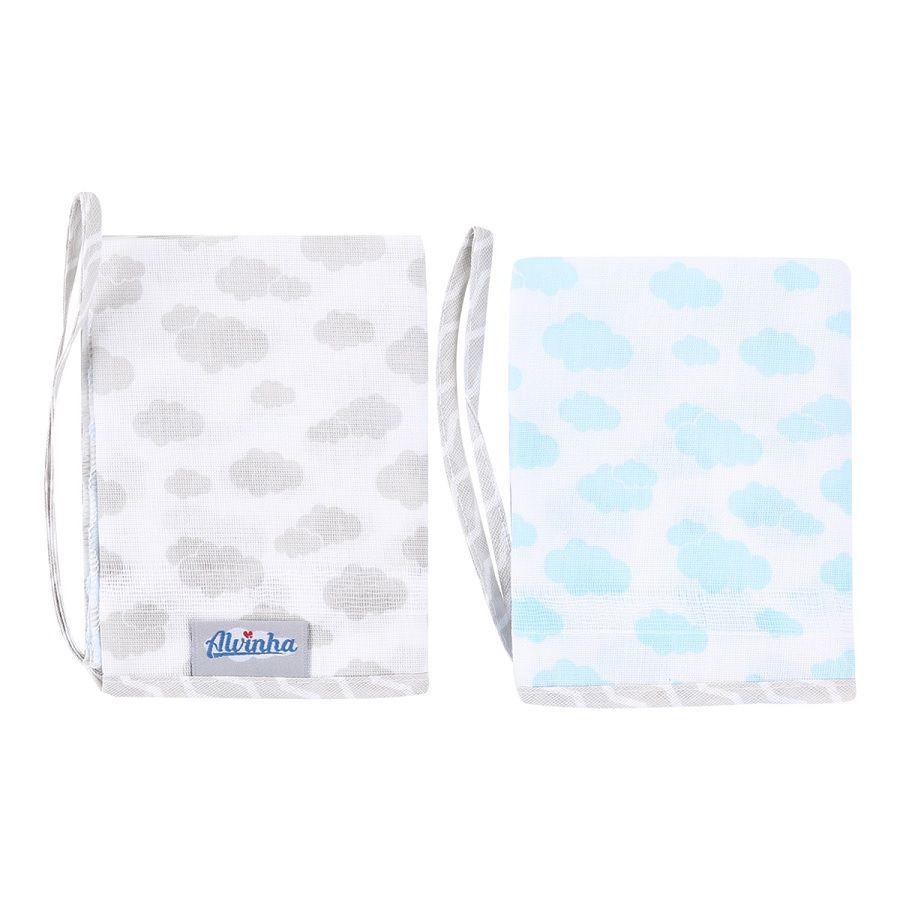 Babetes Paninhos de Boca Azul e Cinza - Alvinha Minasrey - Kit 2 Unidades