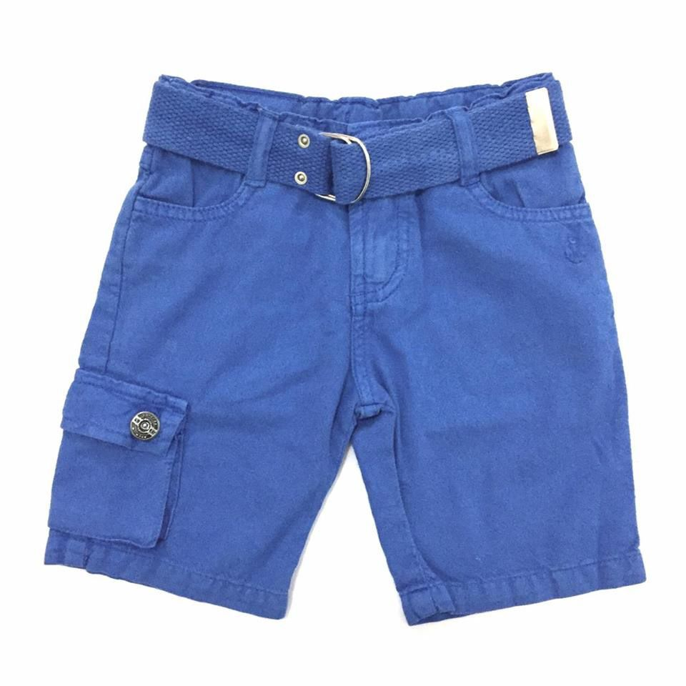 Bermuda com Cinto Sarja Azul - Gijo Kids - 1 Ano