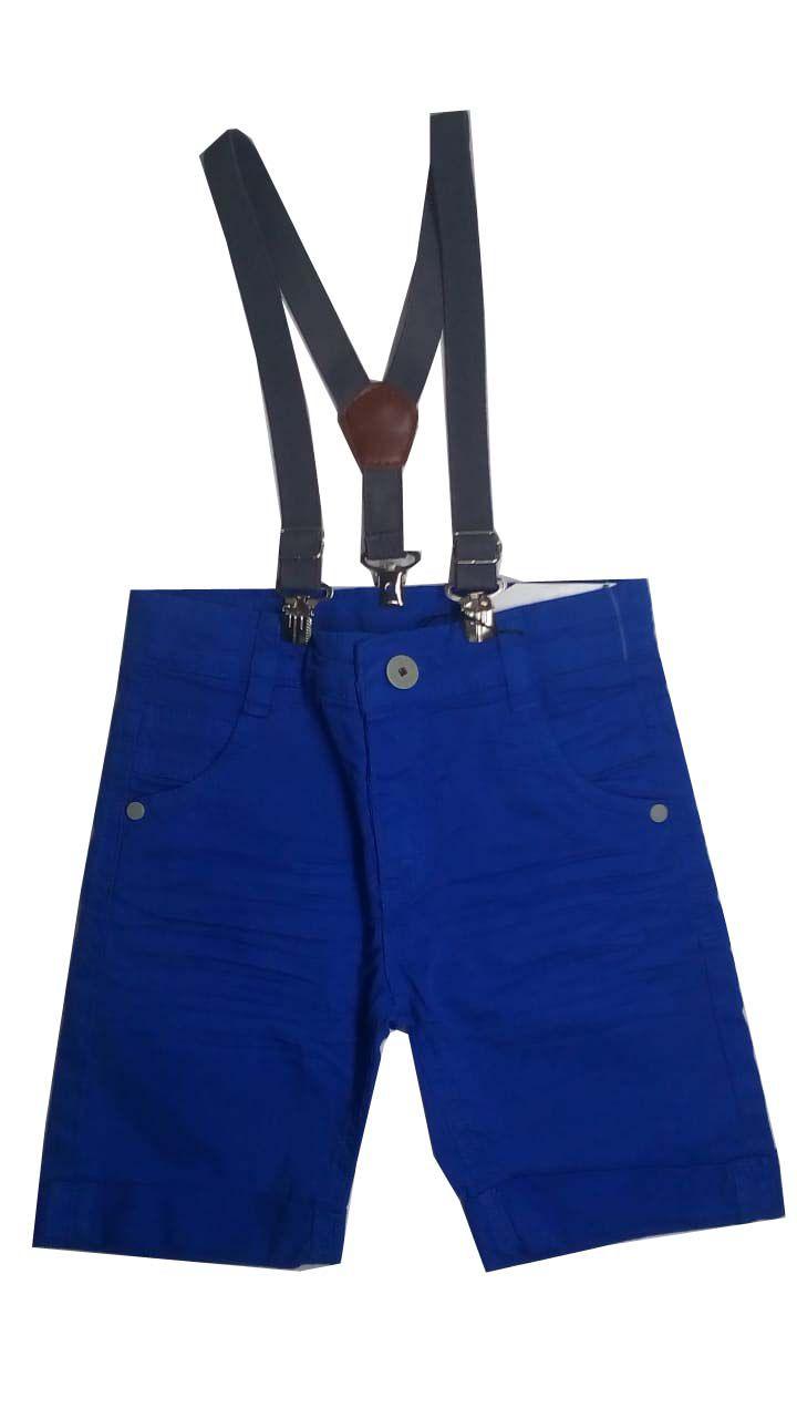 Bermuda  de Sarja Azul com Suspensório - Akioshi Jeans - 3 anos