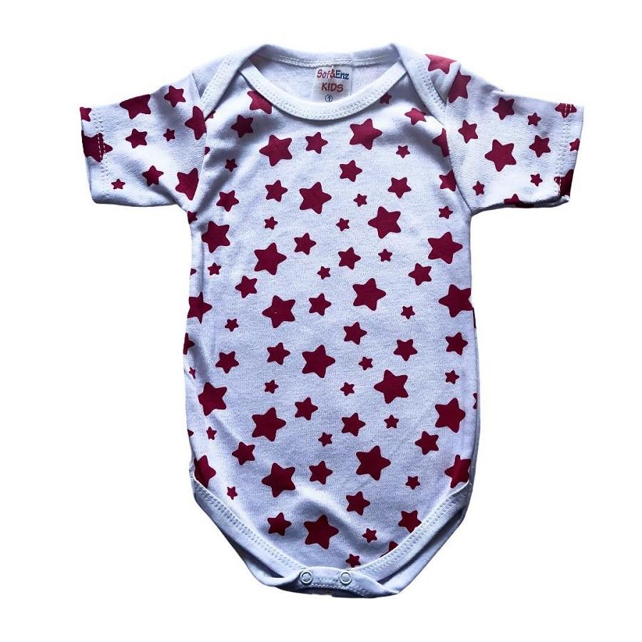 Body Avulso Estampado Estrelas Pink - Sof&Enz Kids