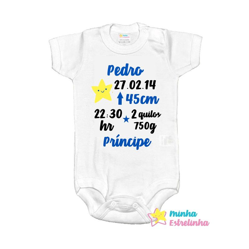 Body dados de nascimento menino - Minha Estrelinha