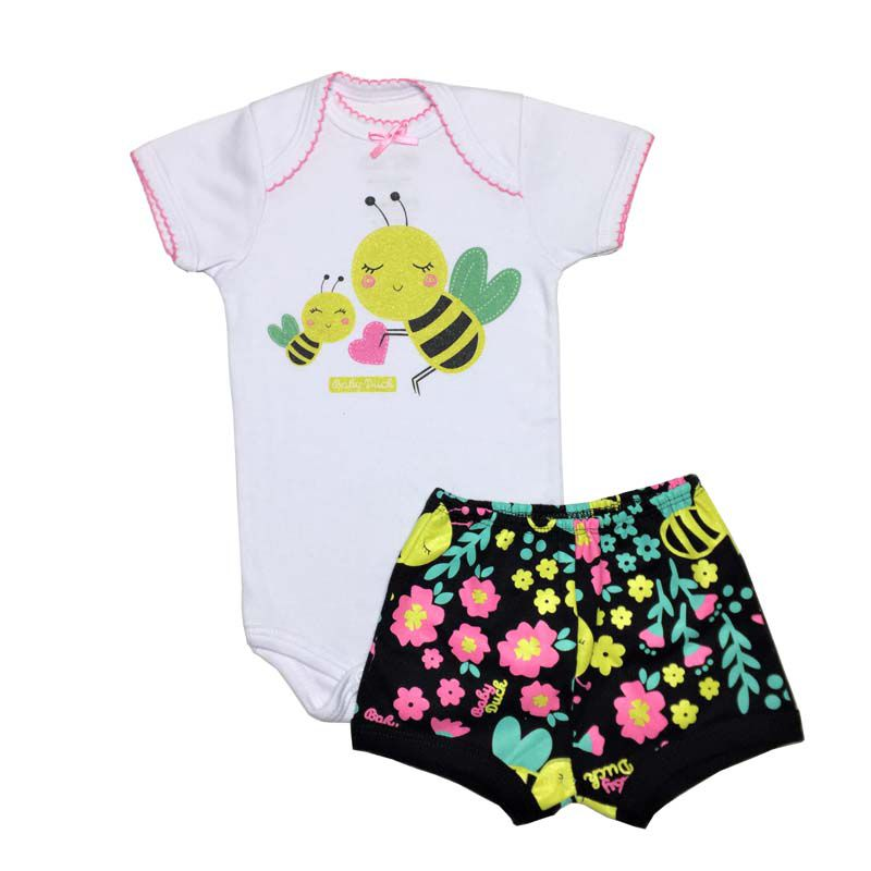 Body Manga Curta e Shorts Abelhinha - Baby Duck