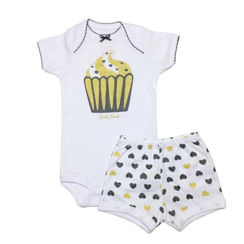 Body Manga Curta e Shorts Cupcake Ouro - Baby Duck