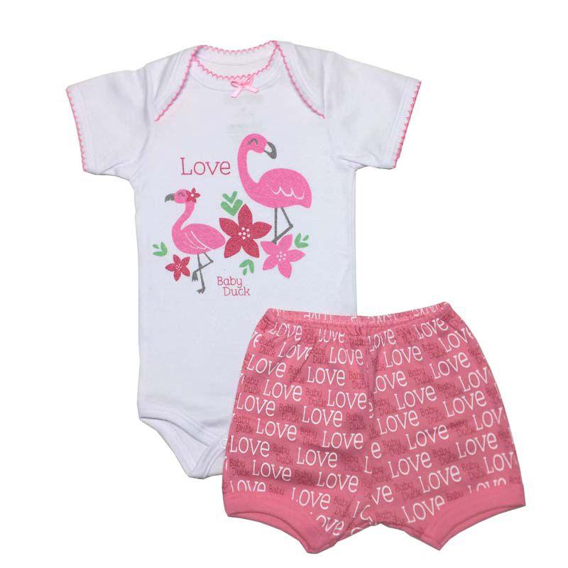 Body Manga Curta e Shorts Flamingo Love - Baby Duck