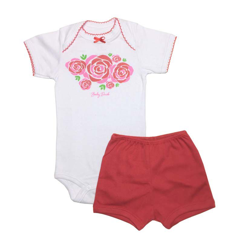 Body Manga Curta e Shorts Flores - Baby Duck