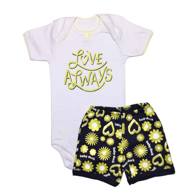 Body Manga Curta e Shorts Flores Dourada - Baby Duck