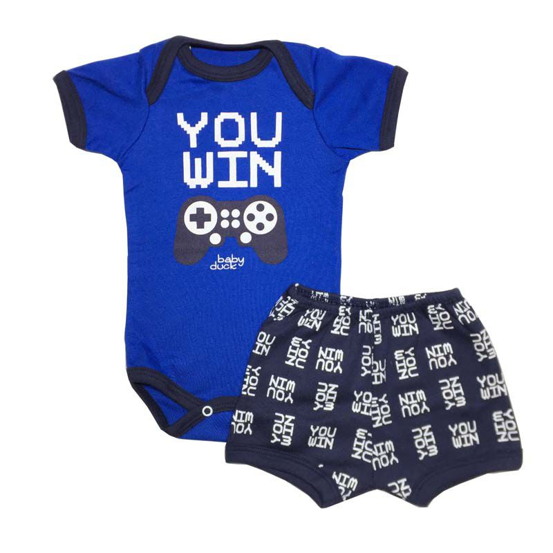 Body Manga Curta e Shorts Game - Baby Duck