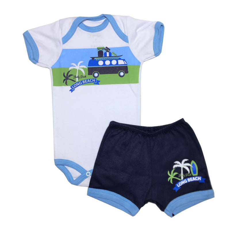 Body Manga Curta e Shorts Long Beach - Baby Duck