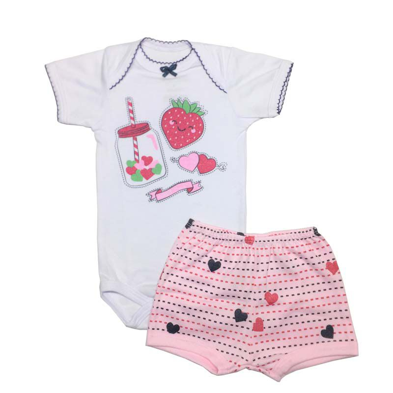 Body Manga Curta e Shorts Suco de Amor - Baby Duck