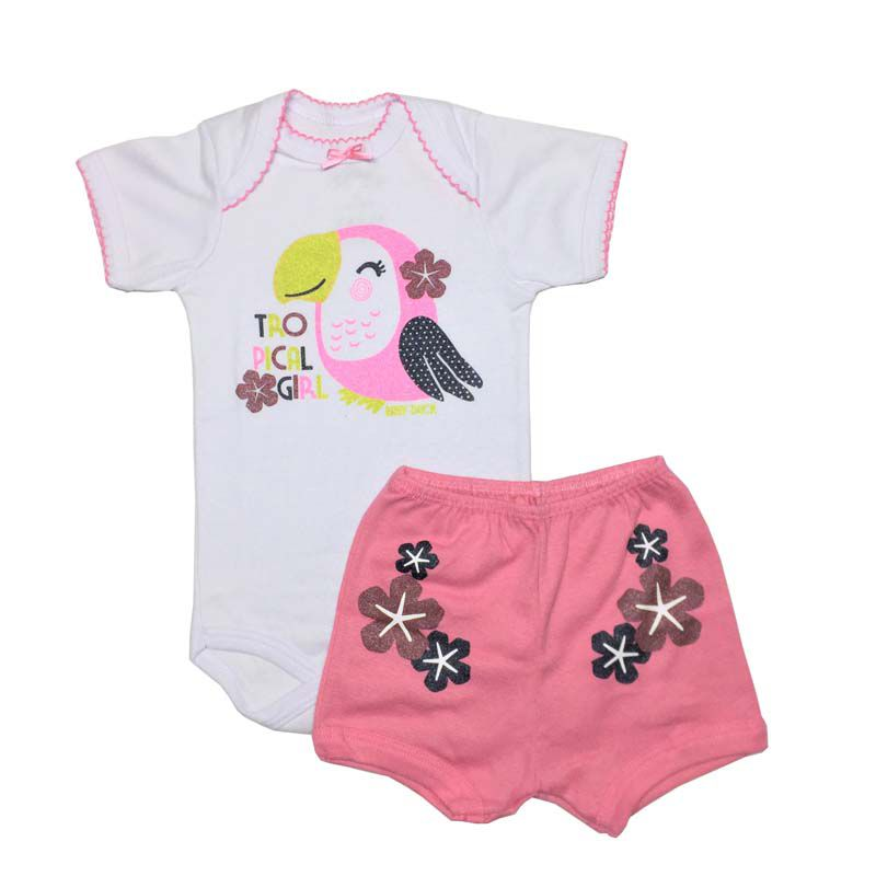 Body Manga Curta e Shorts Tropical - Baby Duck